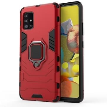 Voor Samsung Galaxy A51 5G Schokbestendige PC + TPU beschermhoes met magnetische ringhouder(rood)
