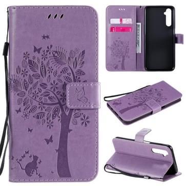 Voor OPPO Realme 6 Tree & Cat In reliëf Patroon Horizontale Flip Lederen Case met Holder & Card Slots & Wallet & Lanyard(Light Purple)