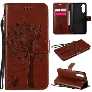 Voor OPPO Realme 6 Tree & Cat In reliëf Patroon Horizontale Flip Lederen Case met Holder & Card Slots & Wallet & Lanyard(Koffie)