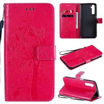 Voor OPPO Realme 6 Tree & Cat In reliëf Patroon Horizontale Flip Lederen Case met Holder & Card Slots & Wallet & Lanyard(Rose Red)