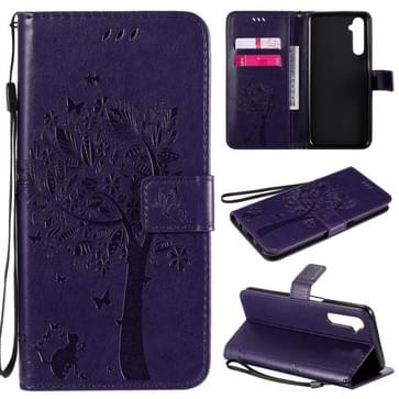 Voor OPPO Realme 6 Tree & Cat In reliëf Patroon Horizontale Flip Lederen Case met Holder & Card Slots & Wallet & Lanyard(Paars)
