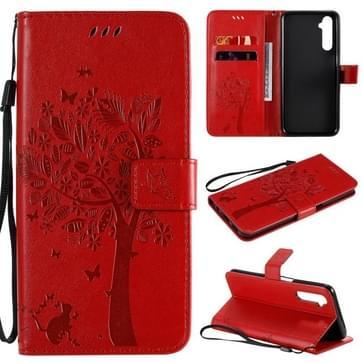 Voor OPPO Realme 6 Tree & Cat In reliëf Patroon Horizontale Flip Lederen Case met Holder & Card Slots & Wallet & Lanyard(Red)
