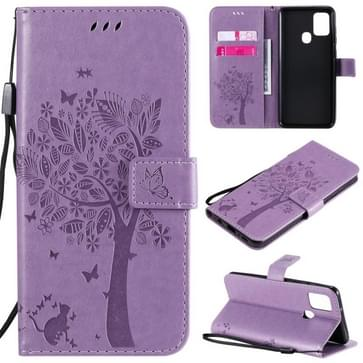 Voor Samsung Galaxy A21s Tree & Cat In reliëf patroon horizontale flip lederen kast met Holder & Card Slots & Wallet & Lanyard(Light Purple)