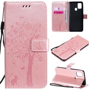 Voor Samsung Galaxy A21s Tree & Cat In reliëf patroon horizontale flip lederen kast met Holder & Card Slots & Wallet & Lanyard(Rose Gold)