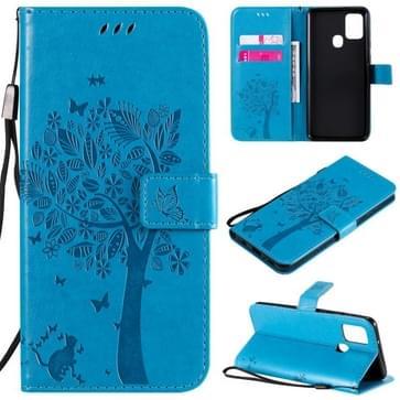 Voor Samsung Galaxy A21s Tree & Cat In reliëf patroon horizontale flip lederen kast met Holder & Card Slots & Wallet & Lanyard(Blauw)