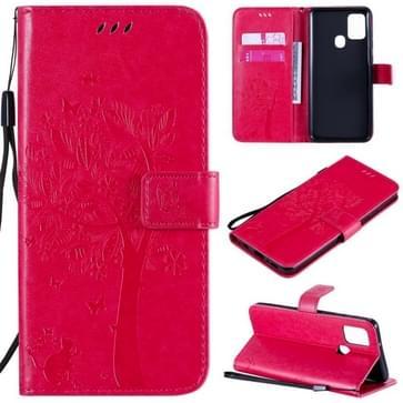 Voor Samsung Galaxy A21s Tree & Cat In reliëf patroon horizontale flip lederen kast met Holder & Card Slots & Wallet & Lanyard(Rose Red)