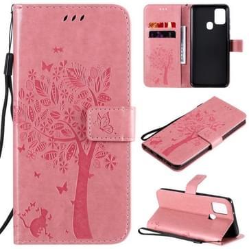 Voor Samsung Galaxy A21s Tree & Cat In reliëf patroon horizontale flip lederen kast met Holder & Card Slots & Wallet & Lanyard(Pink)