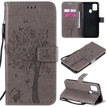 Voor Samsung Galaxy A21s Tree & Cat In reliëf patroon horizontale flip lederen kast met Holder & Card Slots & Wallet & Lanyard(Grijs)