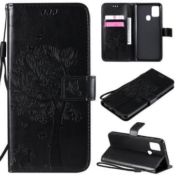 Voor Samsung Galaxy A21s Tree & Cat In reliëf patroon horizontale flip lederen kast met Holder & Card Slots & Wallet & Lanyard(Zwart)