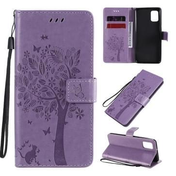 Voor Samsung Galaxy A31 Tree & Cat In reliëf patroon horizontale flip lederen kast met Holder & Card Slots & Wallet & Lanyard(Light Purple)