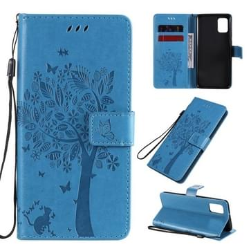 Voor Samsung Galaxy A31 Tree & Cat In reliëf patroon horizontale flip lederen kast met Holder & Card Slots & Wallet & Lanyard(Blauw)