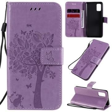 Voor Samsung Galaxy A41 Tree & Cat In reliëf patroon horizontale flip lederen kast met Holder & Card Slots & Wallet & Lanyard(Light Purple)