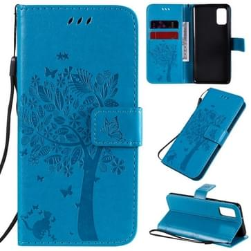 Voor Samsung Galaxy A41 Tree & Cat In reliëf patroon horizontale flip lederen kast met Holder & Card Slots & Wallet & Lanyard(Blauw)