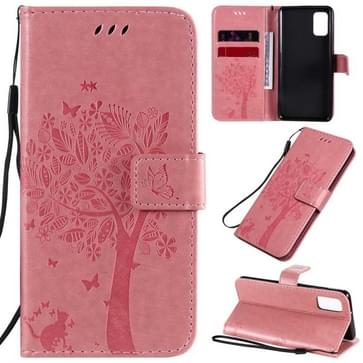 Voor Samsung Galaxy A41 Tree & Cat In reliëf patroon horizontale flip lederen kast met Holder & Card Slots & Wallet & Lanyard(Pink)