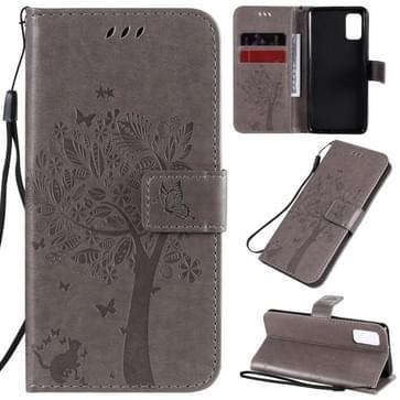 Voor Samsung Galaxy A41 Tree & Cat In reliëf patroon horizontale flip lederen kast met Holder & Card Slots & Wallet & Lanyard(Grijs)