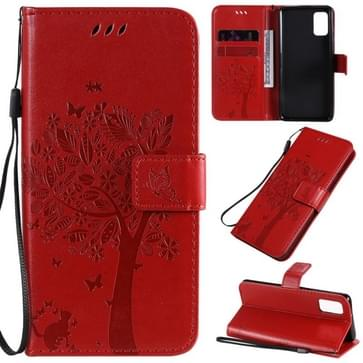 Voor Samsung Galaxy A41 Tree & Cat In reliëf patroon horizontale flip lederen kast met Holder & Card Slots & Wallet & Lanyard(Red)