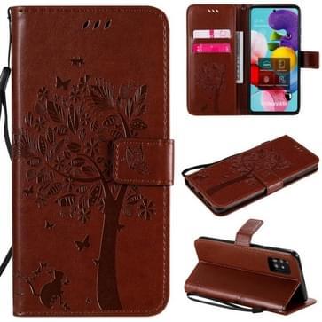 Voor Samsung Galaxy A51 5G Tree & Cat Reliëf Patroon Horizontaal Flip Lederen Koffer met Holder & Card Slots & Wallet & Lanyard(Koffie)