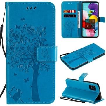 Voor Samsung Galaxy A51 5G Tree & Cat Reliëf Patroon Horizontaal Flip Lederen Hoesje met Holder & Card Slots & Wallet & Lanyard(Blauw)