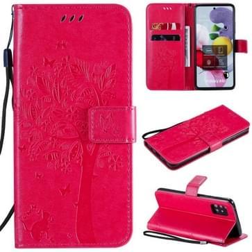 Voor Samsung Galaxy A51 5G Tree & Cat Reliëf Patroon Horizontaal Flip Lederen Kast met Holder & Card Slots & Wallet & Lanyard(Rose Red)