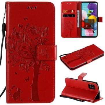 Voor Samsung Galaxy A51 5G Tree & Cat Reliëf Patroon Horizontaal Flip Lederen Hoes met Holder & Card Slots & Wallet & Lanyard(Red)