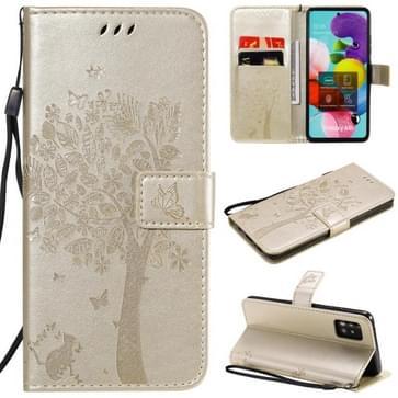 Voor Samsung Galaxy A51 5G Tree & Cat Reliëf Patroon Horizontaal Flip Lederen Kast met Holder & Card Slots & Wallet & Lanyard(Goud)