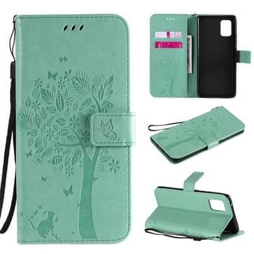Voor Samsung Galaxy A71 5G Tree & Cat Reliëf Patroon Horizontaal Flip Lederen Koffer met Holder & Card Slots & Wallet & Lanyard(Groen)