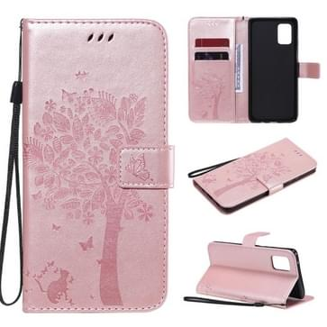 Voor Samsung Galaxy A71 5G Tree & Cat Reliëf Patroon Horizontaal Flip Lederen Kast met Holder & Card Slots & Wallet & Lanyard(Rose Gold)