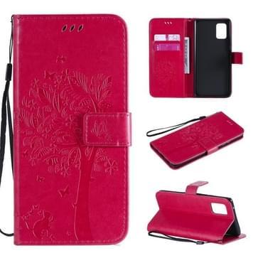 Voor Samsung Galaxy A71 5G Tree & Cat Reliëf Patroon Horizontaal Flip Lederen Koffer met Holder & Card Slots & Wallet & Lanyard(Rose Red)