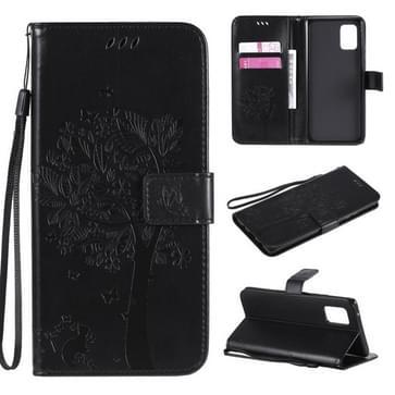 Voor Samsung Galaxy A71 5G Tree & Cat Reliëf Patroon Horizontaal Flip Lederen Kast met Holder & Card Slots & Wallet & Lanyard(Zwart)