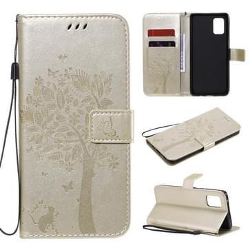 Voor Samsung Galaxy A71 5G Tree & Cat Reliëf Patroon Horizontaal Flip Lederen Kast met Holder & Card Slots & Wallet & Lanyard(Goud)