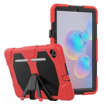 Voor Samsung Galaxy Tab S6 Lite P610 Schokbestendig kleurrijk silicium + PC beschermhoes met houder & pensleuf(rood)