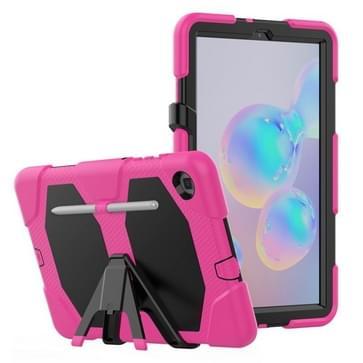 Voor Samsung Galaxy Tab S6 Lite P610 Schokbestendig kleurrijk silicium + PC beschermhoes met Holder & Pen Slot (Rose Red)