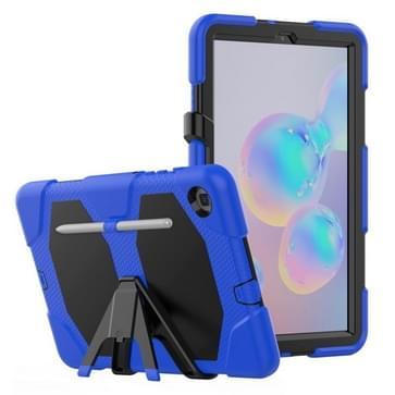 Voor Samsung Galaxy Tab S6 Lite P610 Schokbestendig kleurrijk silicium + PC beschermhoes met Holder & Pen Slot(Blauw)