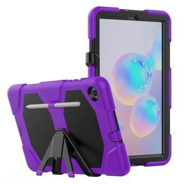 Voor Samsung Galaxy Tab S6 Lite P610 Schokbestendig kleurrijk silicium + PC beschermhoes met Holder & Pen Slot(Paars)
