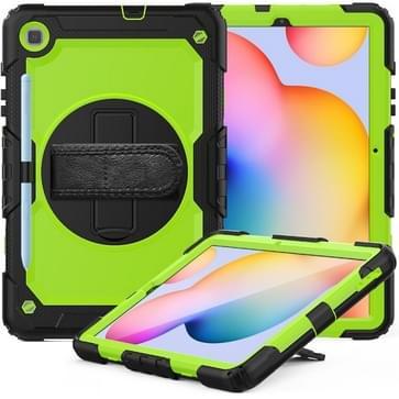 Voor Samsung Galaxy Tab S6 Lite P610 Schokbestendige Kleurrijke Siliconen + PC Beschermhoes met Holder & Schouderband & Handband & Pen slot (Zwartgegroen)