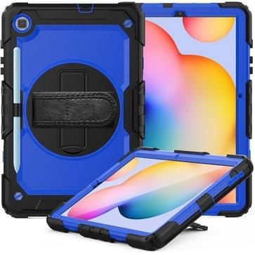 Voor Samsung Galaxy Tab S6 Lite P610 Schokbestendige Kleurrijke Siliconen + PC Beschermhoes met Holder & Schouderband & Handband & Pen slot (Zwart Blauw)