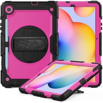 Voor Samsung Galaxy Tab S6 Lite P610 Schokbestendige Kleurrijke Siliconen + PC Beschermhoes met Holder & Schouderband & Handband & Pen slot (Zwart+Rose Red)