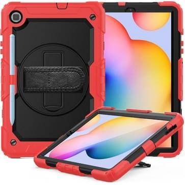 Voor Samsung Galaxy Tab S6 Lite P610 Schokbestendige Kleurrijke Siliconen + PC Beschermhoes met Holder & Schouderband & Handband & Pen slot(Rood)