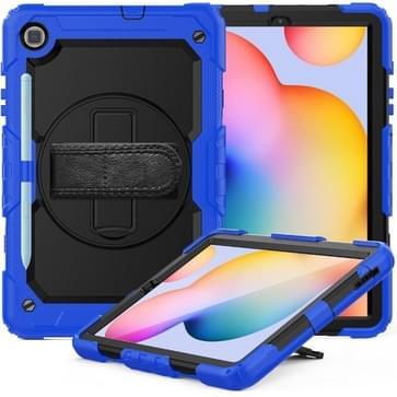 Voor Samsung Galaxy Tab S6 Lite P610 Schokbestendige Kleurrijke Siliconen + PC Beschermhoes met Holder & Schouderband & Handband & Pen slot(Blauw)