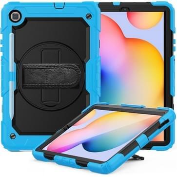 Voor Samsung Galaxy Tab S6 Lite P610 Schokbestendige Kleurrijke Siliconen + PC Beschermhoes met Holder & Schouderband & Handband & Pen slot (lichtblauw)