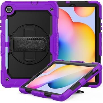 Voor Samsung Galaxy Tab S6 Lite P610 Schokbestendige Kleurrijke Siliconen + PC Beschermhoes met Holder & Schouderband & Handband & Pen slot(Paars)