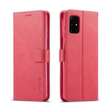 Voor Samsung Galaxy A51 5G LC.IMEEKE Kalf texture horizontale flip lederen kast  met Holder & Card Slots & Wallet & Photo Frame(Red)