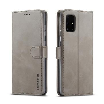 Voor Samsung Galaxy A51 5G LC.IMEEKE Kalf texture horizontale flip lederen kast  met Holder & Card Slots & Wallet & Photo Frame(Grijs)