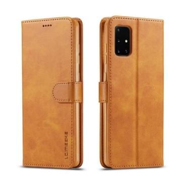 Voor Samsung Galaxy A51 5G LC.IMEEKE Kalf texture horizontale flip lederen kast  met Holder & Card Slots & Wallet & Photo Frame(Bruin)