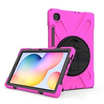 Voor Samsung Galaxy Tab S6 Lite P610 Schokbestendige Kleurrijke Siliconen + PC Beschermhoes met Holder & Schouderband & Handband & Pen slot (Rose Red)
