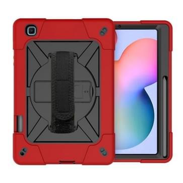 Voor Samsung Galaxy Tab S6 Lite P610 Contrast Color Robot Shockproof Silicon + PC Beschermhoes met Holder & Pen Slot (Rood Zwart)