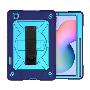 Voor Samsung Galaxy Tab S6 Lite P610 Contrast Color Robot Shockproof Silicon + PC Beschermhoes met Holder & Pen Slot (Navy Blue)
