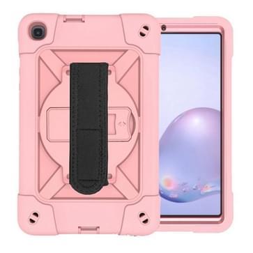 Voor Samsung Galaxy Tab A8.4 (2020) T307 Contrast Color Robot Shockproof Silicon + PC Beschermhoes met houder & pensleuf (RoséGoud)