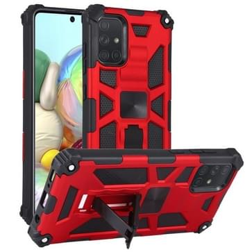 Voor Samsung Galaxy A71 Schokbestendige TPU + PC Magnetic Protective Case met houder(rood)