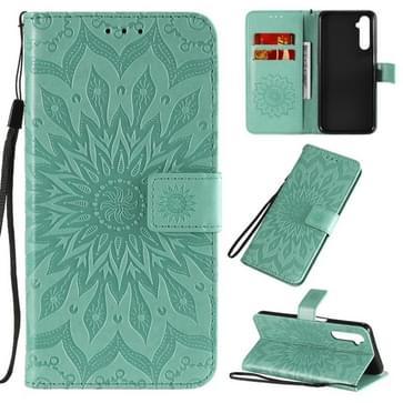 Voor OPPO Realme 6 Reliëf Zonnebloempatroon Horizontaal Flip PU Lederen Case met Holder & Card Slots & Wallet & Lanyard(Groen)